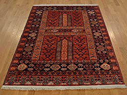 4 x 6 HAND KNOTTED RED FINE AFGHAN ENSARI ORIENTAL RUG G19608