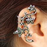 Yazilind Jewelry Unique Design Tendrils Twine Leaves Silver Plated Alloy Ear Cuff Earrings for Women Gift Idea