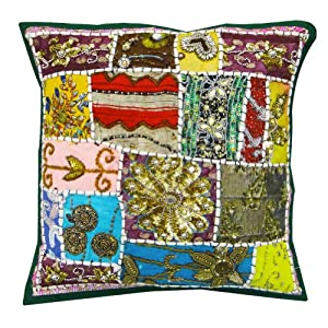 """1 Piece Cotton Handmade Pillow Case Decorative Tapestry Cushion Cover Home Decor India 17"""" Inches"""