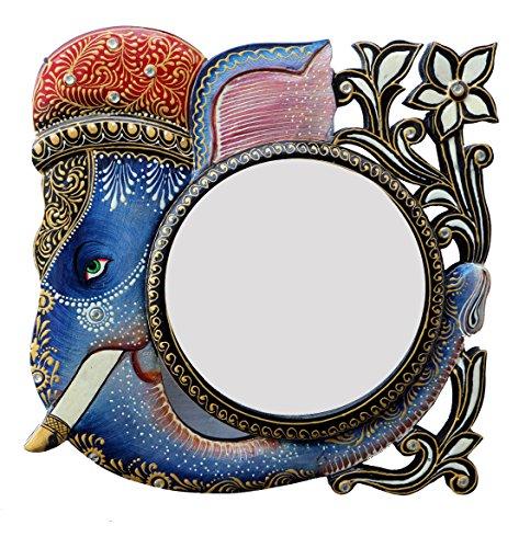 Ghanshyam Art Wood Elephant Wall Mirror (30.48 Cm X 4 Cm X 30.48 Cm, GAC099)