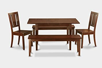 East West Furniture NODU5C-MAH-W 5-Piece Dinette Table Set