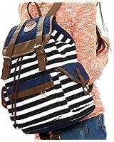 Wowlife Unisex Fashionable Canvas Backpack School Bag Super Cute Stripe School College Laptop Bag for Teens Girls Boys Students