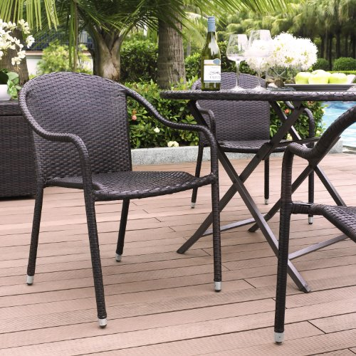 Palm Harbor Outdoor Wicker Stackable Chairs - Set of 4 picture