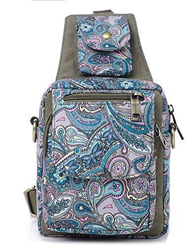 Ecokaki Vintage Printed Small Canvas Multi-Pocket Cross-body Bag Shoulder Messenger Bag Hiking Bag, Army Green