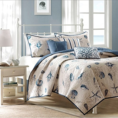 Seashell Beach House Nautical King Quilt, Shams & Toss Pillows (6 Piece...