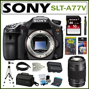 Sony Alpha SLT-A77V 24.3MP Digital SLR with Translucent Mirror Technology (Body Only) + Sony 16GB SDHC + Sony 75-300 Lens + Sony Case + Mini HDMI Cable + Replacement Battery Pack + Accessory Kit