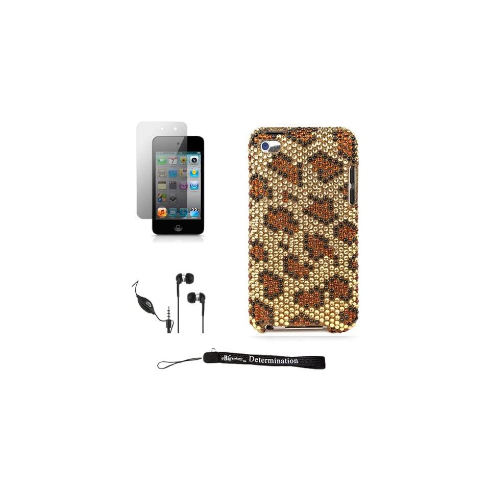 Brown Cheetah Luxury Design Premium Crystal Shiny Rhinestone Carrying Cover Protective Case for Apple iPod Touch 4 ( 4th Generation 8GB, 16GB, 32GB ) + Includes a Anti Glare Screen Protector + Includes a Crystal Clear High Quality HD Noise Filter Ear buds
