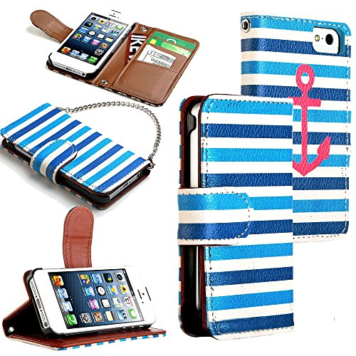 Mylife Marina Blue And White Stripes - Anchor Design - Textured Koskin Faux Leather (Card And Id Holder + Magnetic Detachable Closing) Slim Wallet For Iphone 5/5S (5G) 5Th Generation Smartphone By Apple (External Rugged Synthetic Leather With Magnetic Cli