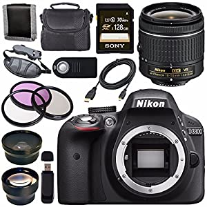 Nikon D3300 DSLR Camera with AF-P 18-55mm VR Lens (Black) + Sony 128GB SDXC Card + Carrying Case Bundle
