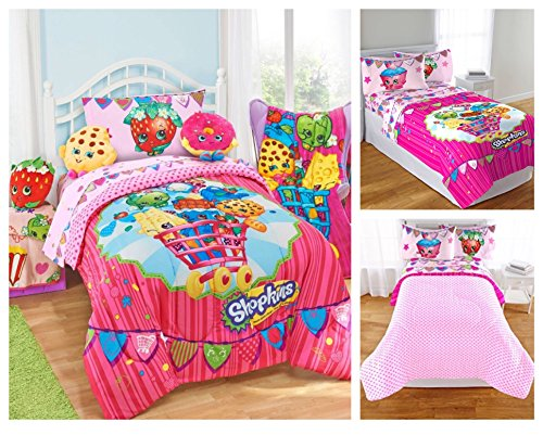 Shopkins Kids 5 Piece Bed in a Bag Full Size Bedding Set - Reversible Comforter, Microfiber Sheets & Pillow Cases