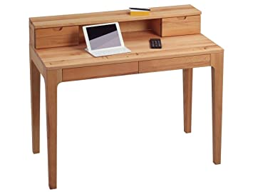 Dreams4Home Schreibtisch 'Edisto' Holz Massiv Kernbuche Burotisch Tisch Sekretär Schminktisch 110 x 96 cm