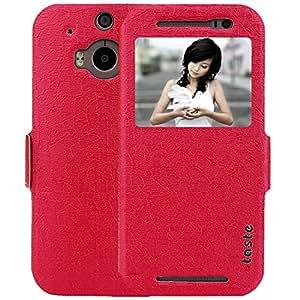 M8 Case, M8 flip case Red Window View PU Leather Case Flip Cover Folio Case for HTC One M8