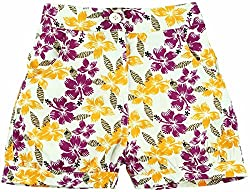 Oye Girls Printed Shorts - Yellow/Purple Print (4-5Y)