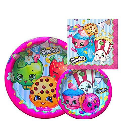 Lowest Price! Shopkins Birthday Party Supply Set for 16: Dinner Plates, Dessert Plate, & Napkins