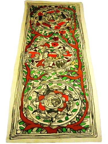 Idee regalo di compleanno per gli uomini e donne Regionale indiana Folk Art Original Unframed Madhubani Verniciatura in colori vegetali su carta a mano per la decorazione domestica o da parete