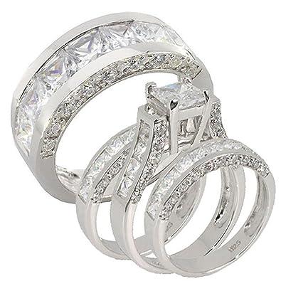 ring set silver sterling wedding