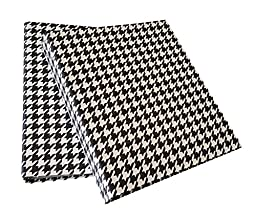 Set of 2 - 3 Ring Fabric Binder 2 inch - Daily Planners Organizers - Houndstooth Design (Black/White)