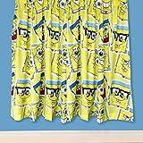 キッズ 子供用 公式商品 オフィシャル スポンジボブ・スクエアパンツ 子供部屋 寝室 カーテンセット (2枚入) (168 x 137cm) (イエロー)