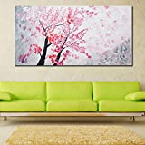 999Store pink leaves tree modern decorative artwork oil paintings on Canvas Wall Art for Home Decorations unframed (134x99 cm)
