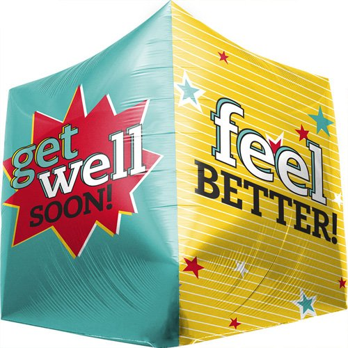 Get Well Feel Better Cube Helium Foil Balloon - 17 inch