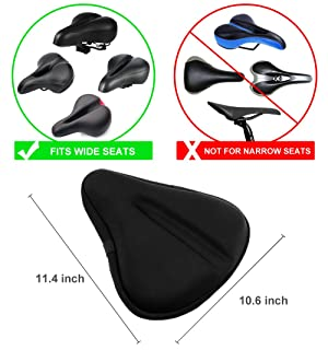 Zacro Big Size Bike Seat, Gel Bicycle Cushion for Bike Saddle with One Waterproof Cover, Fits for Spin Class and Indoor Cycling
