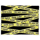 Crime Scene Tape Fleece Blanket - Mini Fleece Blanket 35x27in - Soft Faux Fur Throw