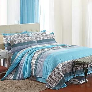Vaulia Lightweight Cotton Blend Duvet Cover Sets, Bright Print Pattern Design - Full/Queen Size