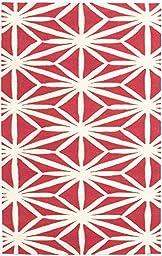 eCarpetGallery Handmade Baroque 5-Feet 0-Inch by 8-Feet 0-Inch Wool Rug, Cream, Red