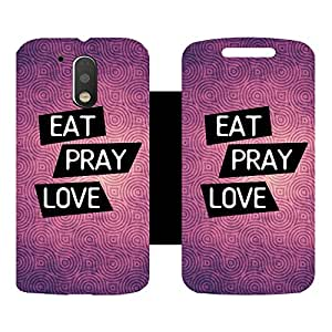 Skintice Designer Flip Cover with Vinyl wrap-around for Motorola Moto G4 Plus, Design - Eat Pray Love