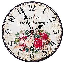 KI Store Silent Non-ticking Wall Clock 12 Inch Prime Quality Decorative Roman Numeral Wall Clocks (Marseille Rose)