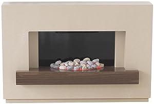 The Adam Sambro Travertine Effect Surround with Black Glass Back Panel and Walnut Veneer Shelf  Adam       Customer review and more information