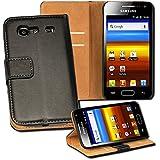OneFlow PREMIUM - Book-Style Case im Portemonnaie Design mit Stand-Funktion - für Samsung Galaxy S Advance (GT-i9070) - SCHWARZ
