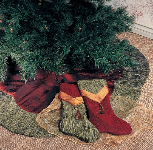 Two tone crushed tissue christmas tree skirt inch