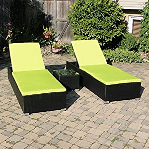 St kitts adjustable chaise lounge patio set for Black wicker chaise lounge