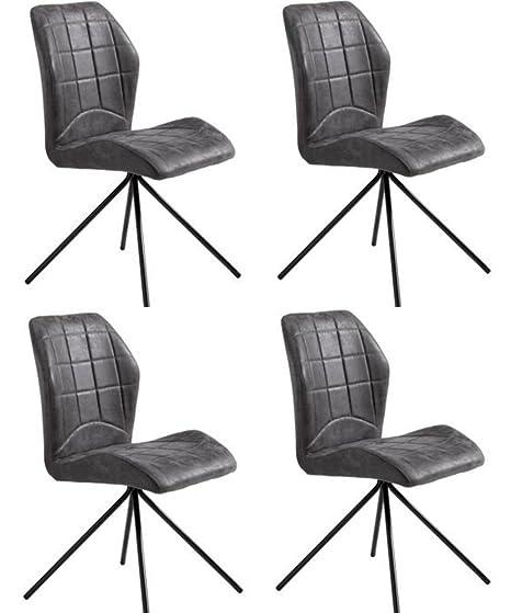 Conjunto de 4 sillas de comedor retro PETRUS de piel sintética en color gris fuerte