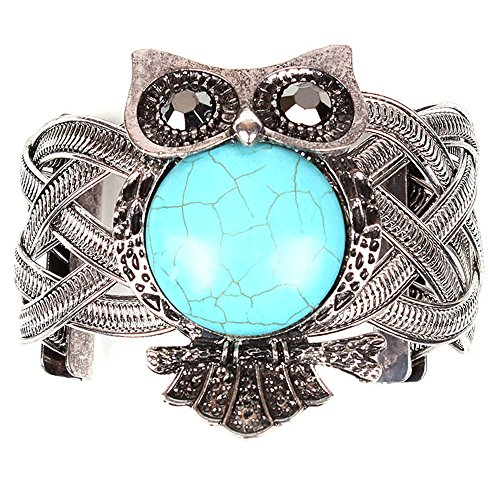 Zps(Tm) Girl Simple Retro Cracking Turquoise Owl Oval Lucky Bracelet Bangle