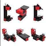 Tinsay 6 in 1 Machine Lathe DIY Machine Tool Kit Jigsaw Milling Lathe Drilling Machine Multi-functional Motorized Transformer Multipurpose Machine (Color: Black)