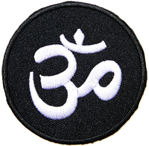 [Aum Om Ohm Hindu Yoga Indian Lotus Lucky Sign Logo Hippie Retro Biker Jacket T-shirt Vest Patch Sew Iron on Embroidered Badge] (Indian Costume No Sew)