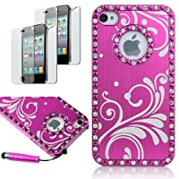 Pandamimi Deluxe Rose Pink Chrome Bling Crystal Rhinestone Hard Case Skin Cover for Apple iPhone 4 4S 4G With 2 Pcs Screen Protector and Pink Stylus by Pandamimi