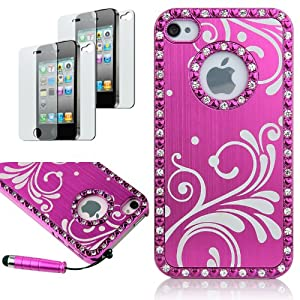 Pandamimi Deluxe Rose Pink Chrome Bling Crystal Rhinestone Hard Case Skin Cover for Apple iPhone 4 4S 4G With 2 Pcs Screen Protector and Pink Stylus from Pandamimi