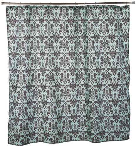 Carnation Home Fashions Damask Fabric Shower Curtain Brown On Blue Shower