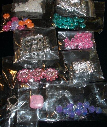 Plastic beads kit silver fairy pink assortment