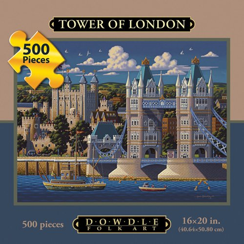 Picture of Fun Dowdle Folk Art London Tower Bridge 500pc 16x20  Puzzles (B004V0I6O2) (Jigsaw Puzzles)