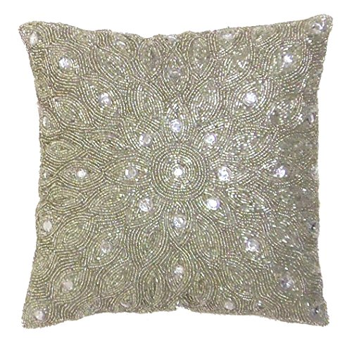 Silver Beaded Decorative Pillow : Cotton Craft - Peacock Hand Beaded Decorative Pillow 12x12 Square Silver, Painstakingly and ...