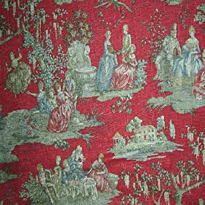 54 wide fabric scenic savannah red waverly toile fabric by the yard other. Black Bedroom Furniture Sets. Home Design Ideas