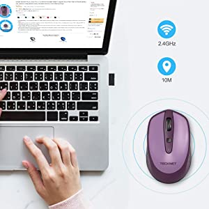 88f3d0cb7b1 TeckNet Omni Small Portable 2.4G Wireless Optical Mouse with USB Nano  Receiver for Laptop Computer, ...