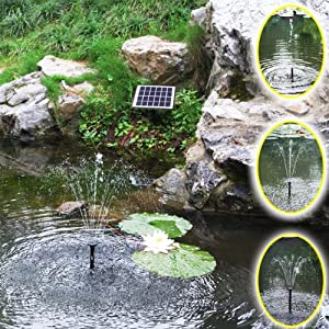 Agora-Tec AT-2W Solar Teichpumpe 2 Watt Hmax.: 170l/h Fontainenhöhe: 0,65m für Gartenteich oder Springbrunnen from Agora-Tec
