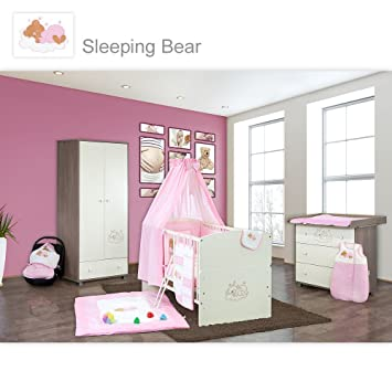 Babyzimmer 19-tlg. in Sonoma-Cream mit 2 turigem Kl. + Set Sleeping Bear Rosa