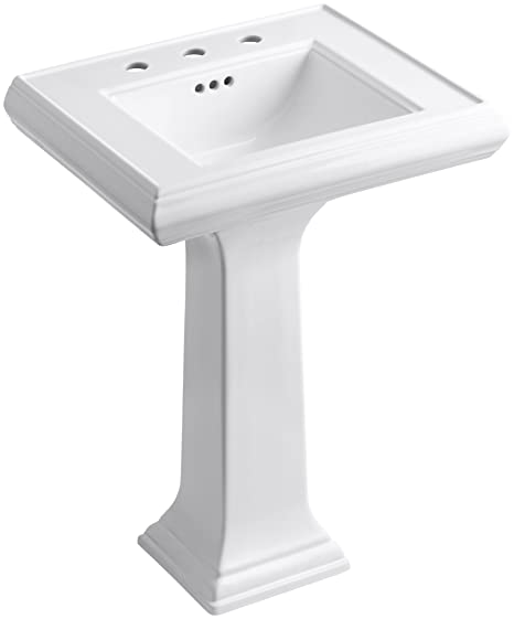 "KOHLER K-2238-8-0 Memoirs Pedestal Bathroom Sink with 8"" Centers and Classic Design, White"