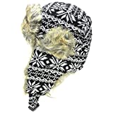 Unisex Snowflake Wool Tweed Faux Fur Lined Winter Earflap Trooper Aviator Hat (Choose from Various Colors)